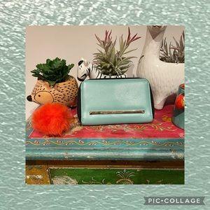RIVER ISLAND - Light Blue Wallet w/- Orange PomPom